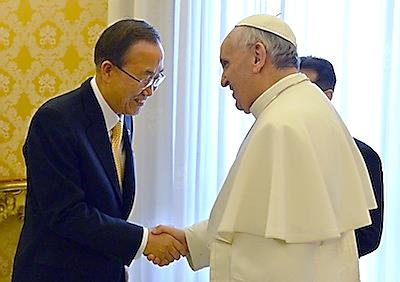 ban ki-moon with pope francis