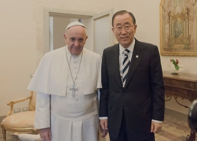 ki-moon with pope francis